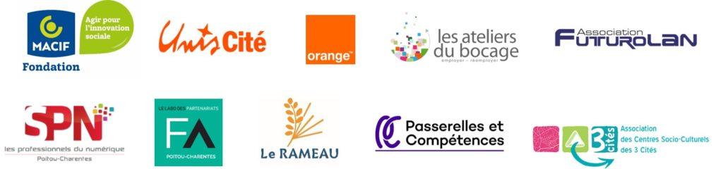 Fondation Macif, Unis Cité, Orange, Les Ateliers du Bocage, Association Futurolan, Le SPN, France Active Poitou-Charentes - Le Labo des partenariats, Le Rameau, Passerelles & Compétences, Association des Centres socioculturels des 3 Cités